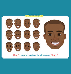 Set of male facial emotions black american man vector