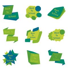 Set of nine green back to school badges vector