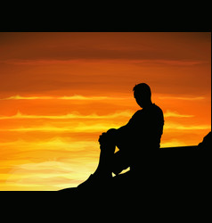 Silhouette lonely man sitting alone when twilight vector