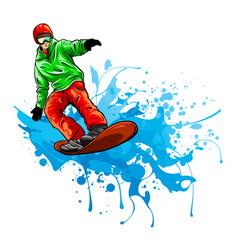 Snowboarder in action design vector