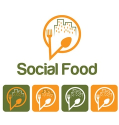 Social food and icon set vector
