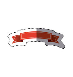 Sticker red ornament ribbon decorative tape vector