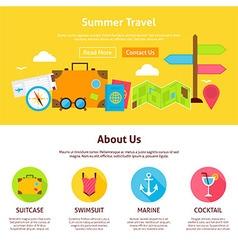 Summer Travel Flat Web Design Template vector image