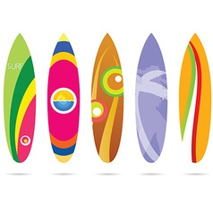 surf board set in colorful on white vector image