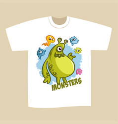 T-shirt print design cartoon cute monsters vector