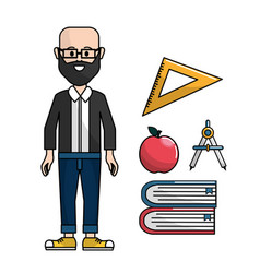 Teacher with triangle rule apple compass and vector