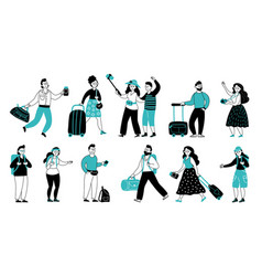 tourists characters travel people tourist vector image