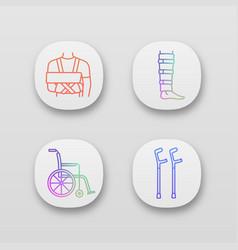 trauma treatment app icons set vector image
