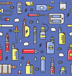 vape devices and accessories with flavored steam vector image