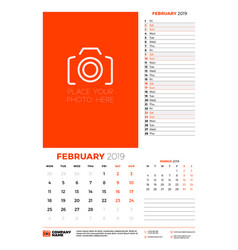 wall calendar planner template for february 2019 vector image