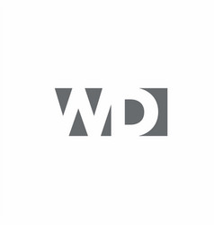 wd logo monogram with negative space style design vector image