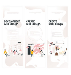 web design development concept on vertical banners vector image