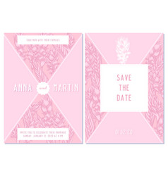 wedding invitation card with pink turmeric vector image