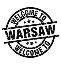Welcome to warsaw black stamp vector
