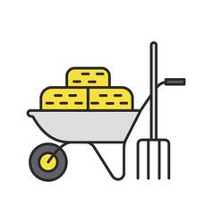 Wheelbarrow with bales hay and pitchfork color vector