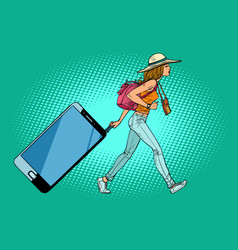 Woman traveler with a smartphone gadget instead vector