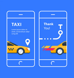 Yellow taxi on blue background vector