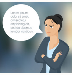 Young business woman with speech comment bubble vector