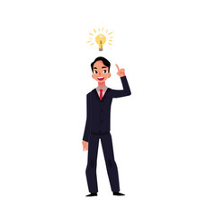 young businessman having idea lightbulb as symbol vector image