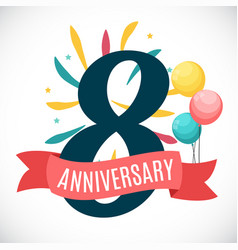 anniversary 8 years template with ribbon vector image vector image