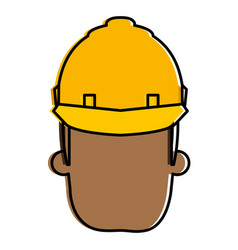 black man with helmet construction vector image