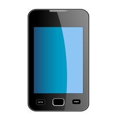 Glossy smart phone with blue touch screen vector image