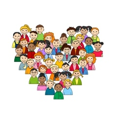 Heart of children and teenagers vector image vector image