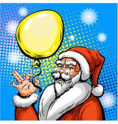 pop art of santa claus in red vector image
