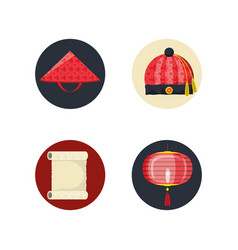 set of chinese elements vector image