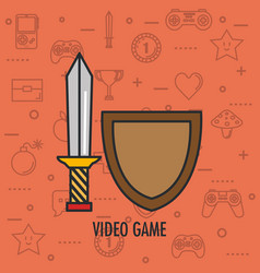 video game shield and sword weapon app vector image