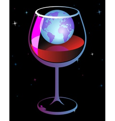 World in wineglass vector image vector image