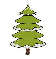Christmas pine tree icon vector