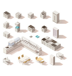 isometric low poly restaurant equipment vector image