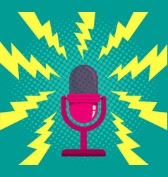 microphone on blue halftone background vector image vector image