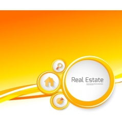 real estate orange brochure with circles vector image vector image