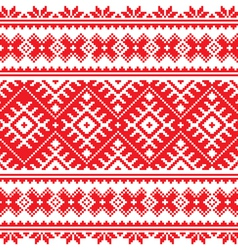 Seamless Ukrainian folk red embroidery pattern vector image