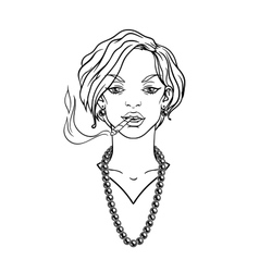 Stylish beautiful lady with cigarette vector image