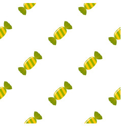 Sweet candy in green wrap pattern seamless vector