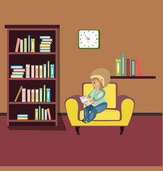 woman reading book on chair at home vector image vector image