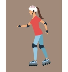 Woman walking with roller skates and protection vector image