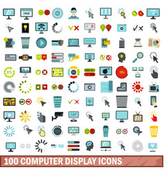 100 computer display icons set flat style vector image vector image
