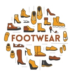Footwear Line Art Thin Icons Set with Shoes vector image