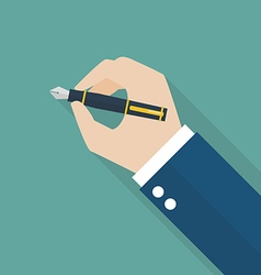 Hand writing with fountain pen vector image vector image