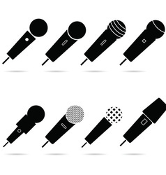 microphone set in black color art vector image vector image
