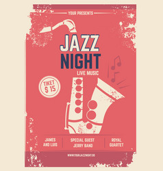 musical poster in retro style invitation for vector image