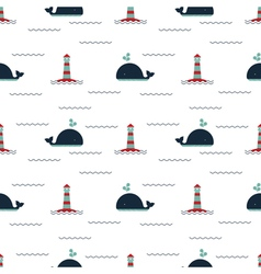 pattern lighthouse whale vector image vector image