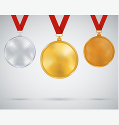 set of medals gold silver bronze vector image