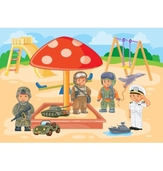 Small children different professions playing in vector image vector image