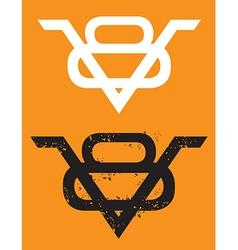 V8 Engine emblem with grunge option vector image vector image