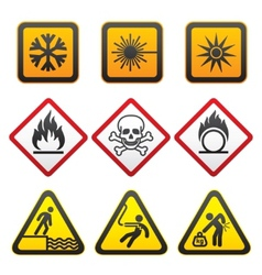 warning symbols hazard signsthird set vector image vector image